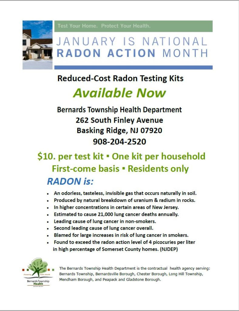 $10 Radon Testing Kits Available in Basking Ridge
