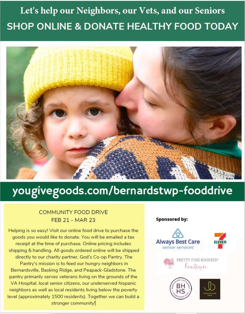 yougivegoods.com/bernardstwp-fooddrive - an easy way to donate to the Basking Ridge food drive
